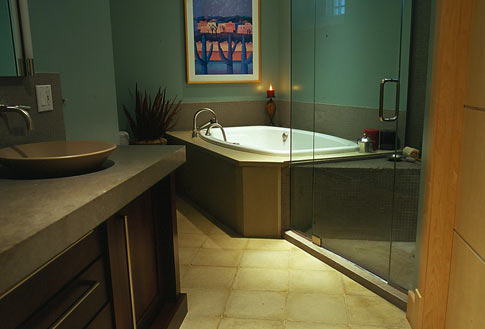 images of concrete bathtub surround and floor tiles