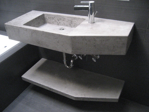images of concrete sink with shelf