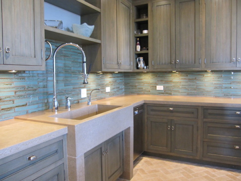 images of concrete farm sink and counter tops
