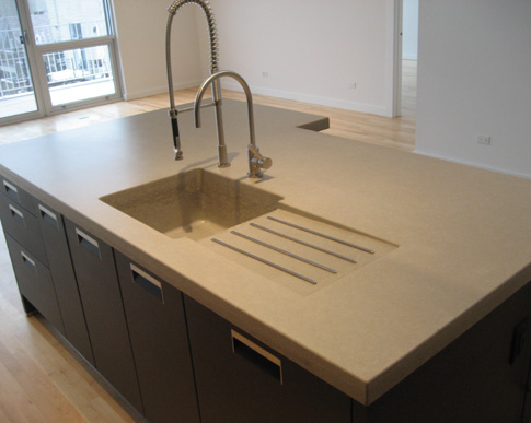images of concrete island with integrated sink and drainboard